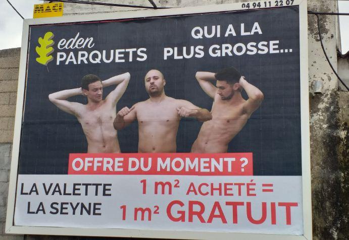 Реклама полов и во Франции не всегда отличается особой оригинальностью
