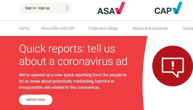А мы предупреждали, что будем строги к нарушителям правил рекламы, которая спекулирует на здоровье во время пандемии, говорят в ASA